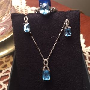 New 4 piece blue topaz ring necklace & earrings